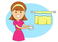Girl washing hands clipart