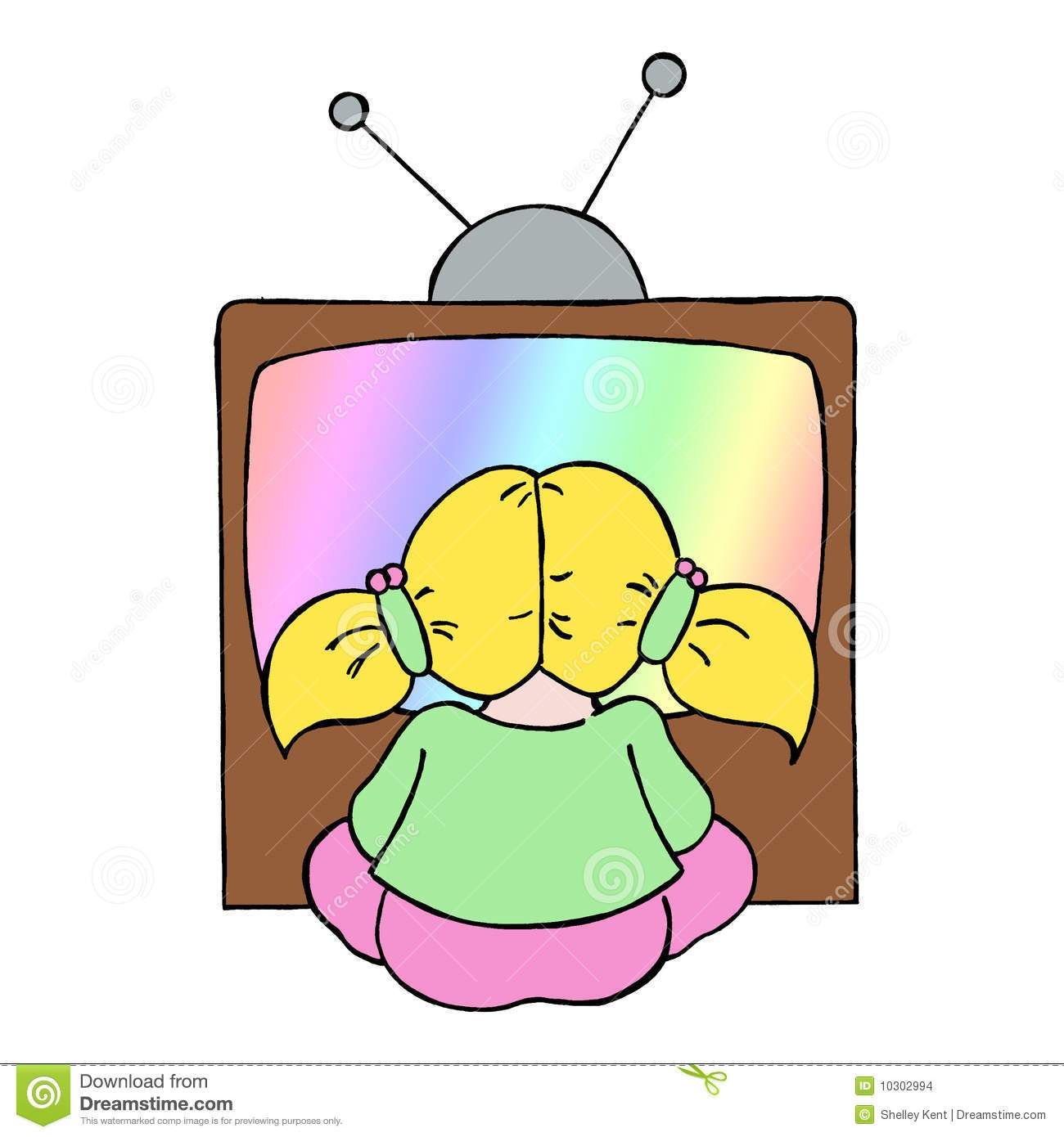 Girl watching tv clipart
