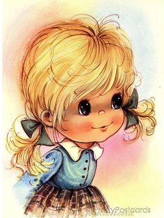 Girl with big eyes clipart graphic transparent stock This style of drawing was popular in the 70's. | Growing up in the ... graphic transparent stock