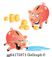 Girl with empty piggy bank clipart png freeuse library Vector Illustration - Woman run out of money. Stock Clip Art ... png freeuse library