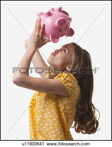 Girl with empty piggy bank clipart clip art black and white library Stock Photography of Teenage girl trying to get money out of piggy ... clip art black and white library
