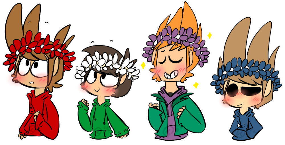 Something wearing a crown kawaii clipart png freeuse download Eddsworld flower crowns by Jaziziplz on DeviantArt png freeuse download