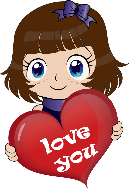 Girl with heart clipart clipart library Cute Girl Manga Smiley Emoticon Clipart | i2Clipart - Royalty Free ... clipart library