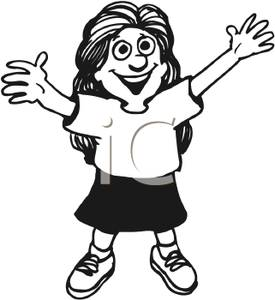 Girl with her arms up clipart clip art freeuse A Young Girl with Her Arms Stretched and Reaching Up - Royalty Free ... clip art freeuse