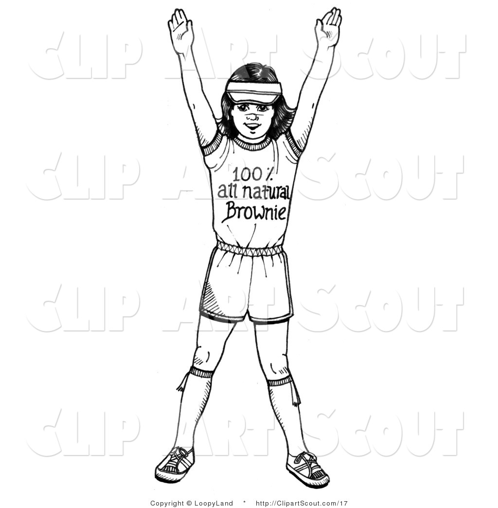 Girl with her arms up clipart graphic royalty free Clipart of a Black and White Girl Scout Brownie Holding Her Arms up ... graphic royalty free