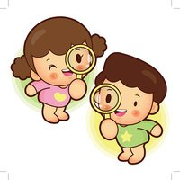 Girl with magnifying glass clipart vector black and white library Magnifying Glass Looking Boys and Girls,child and stock vectors ... vector black and white library