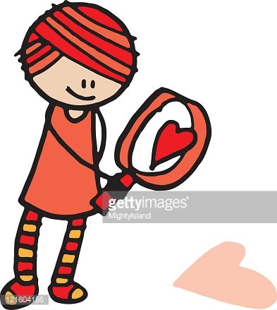 Girl with magnifying glass clipart clipart royalty free download Girl With Magnifying Glass and Heart premium clipart - ClipartLogo.com clipart royalty free download