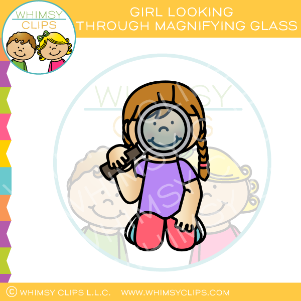 Girl with mangyfying glass clipart black and white clipart free stock Girl Looking Through Magnifying Glass Clip Art clipart free stock