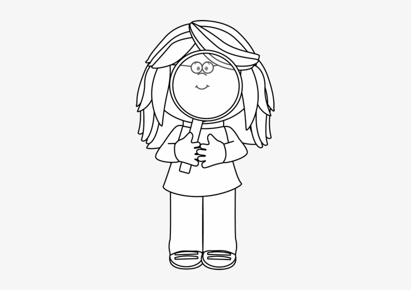 Girl with mangyfying glass clipart black and white svg black and white library Black And White Girl Holding A Magnifying Glass Clip - Magnifying ... svg black and white library