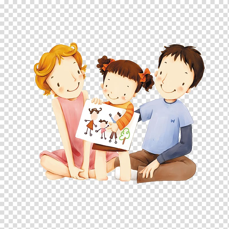 Girl showing her drawing to her mom and dad , Kong Meng San Phor ... clipart royalty free download