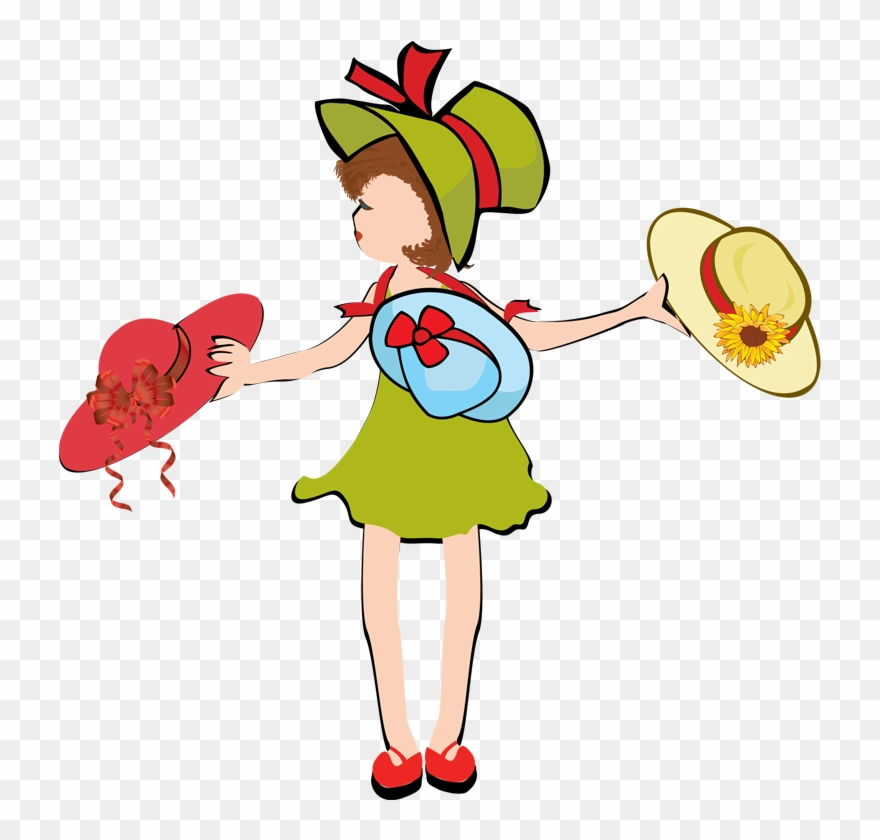Girl with snapback hat clipart image royalty free download Sun Hat Clip Art - Girl Wearing Many Hats Clipart - Png Download ... image royalty free download