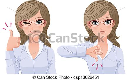 Girl with thumbs up clipart banner free stock Clipart Vector of woman with thumbs-up and down - Eyewear glasses ... banner free stock