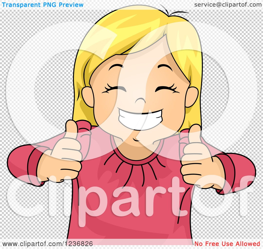 Girl with thumbs up clipart svg black and white library Clipart of a Happy Blond Girl Grinning and Holding Two Thumbs up ... svg black and white library