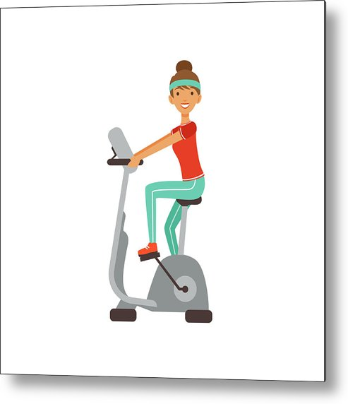 Girl working out clipart clip free stock Young Woman Character Training On An Exercise Bike, Girl Working Out In The  Fitness Club Or Gym Colorful Vector Illustration Metal Print clip free stock