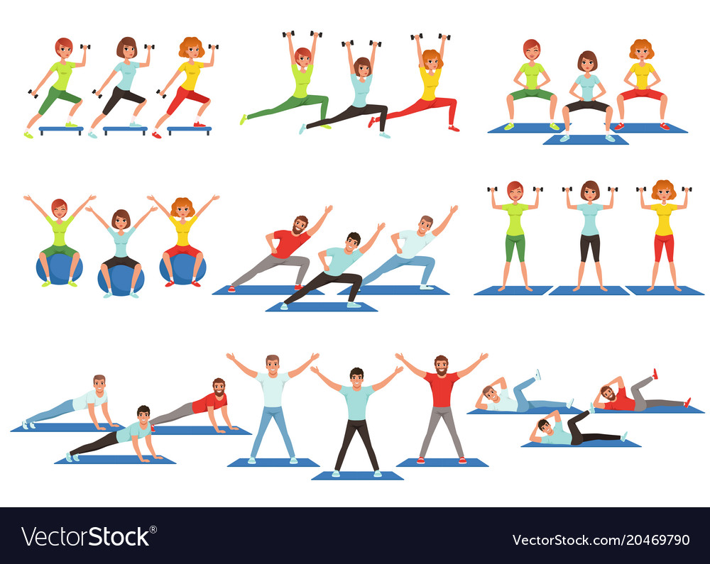 Girl working out clipart royalty free stock Set of people working out in gym young girls and royalty free stock