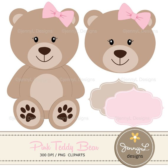 Teddy bear gender reveal clipart picture black and white download Pink Teddy Bear Digital papers, Teddy Bear clipart, Girl Baby Shower ... picture black and white download