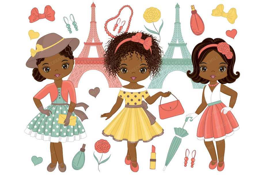 Girls clipart images svg freeuse download Vector Paris Girls Clipart ~ Illustrations ~ Creative Market svg freeuse download