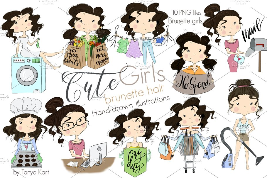 Girls clipart images vector royalty free library Brunette hair Girls Clipart vector royalty free library