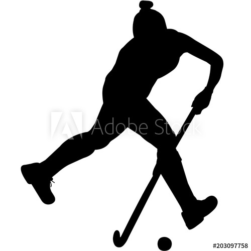 Ice hockey girl player all black clipart