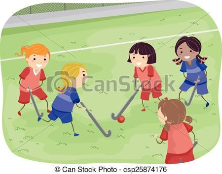 Girls field hockey clipart clip freeuse stock Vector - Stickman Girls Field Hockey - stock illustration, royalty ... clip freeuse stock