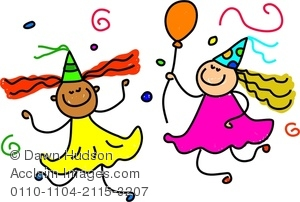 Girls having fun clipart image transparent library Clipart Image of Two Happy Little Girls Having Fun At A Birthday Party image transparent library
