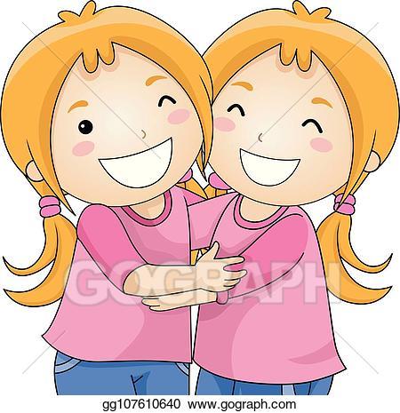 Girls hugging clipart banner free library Vector Stock - Kids girls twins hug illustration. Clipart ... banner free library