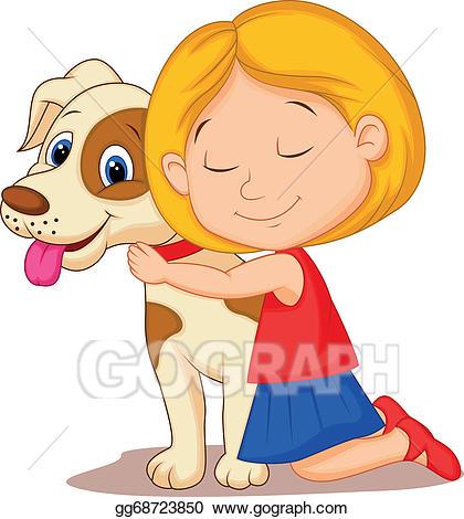 Girls hugging clipart image free stock Vector Stock - Lovely cartoon little girl hugging . Stock Clip Art ... image free stock