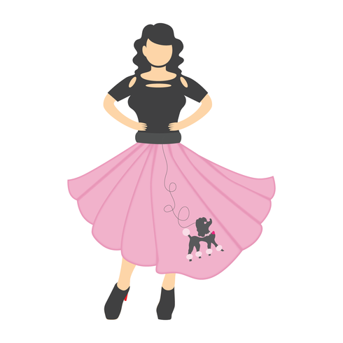 Girls in poodle skirts and rollerskates clipart vector freeuse stock Poodle Skirt - Download Free Vector Art, Stock Graphics & Images vector freeuse stock