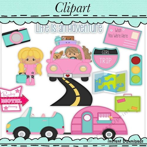 Girls road trip clipart banner royalty free stock Cuties Road Trip Clip Art | Clipart and Digital Designer Resources ... banner royalty free stock