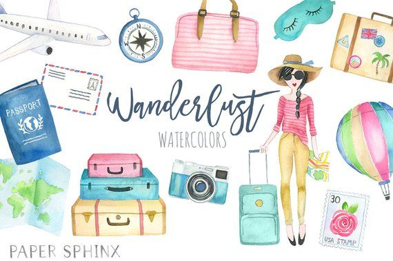 Girls road trip clipart clipart free stock Watercolor Travel Clipart | Wanderlust Clipart - Vacation Clipart ... clipart free stock
