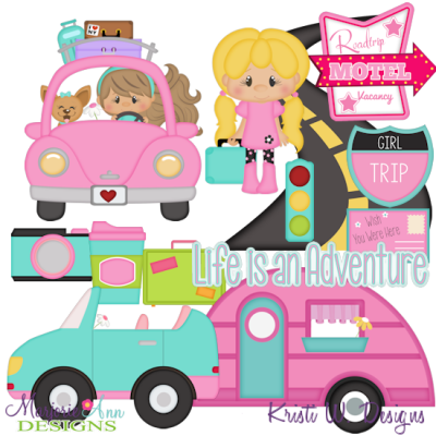 Girls road trip clipart clip library download Cuties-Road Trip Girls SVG Cutting Files Includes Clipart - $2.28 ... clip library download