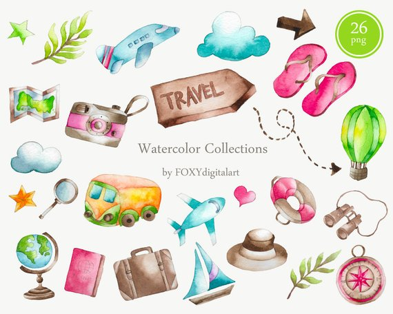 Girls road trip clipart graphic library download Travel Clipart, Watercolor Clipart, Traveling Clipart, Vacation ... graphic library download