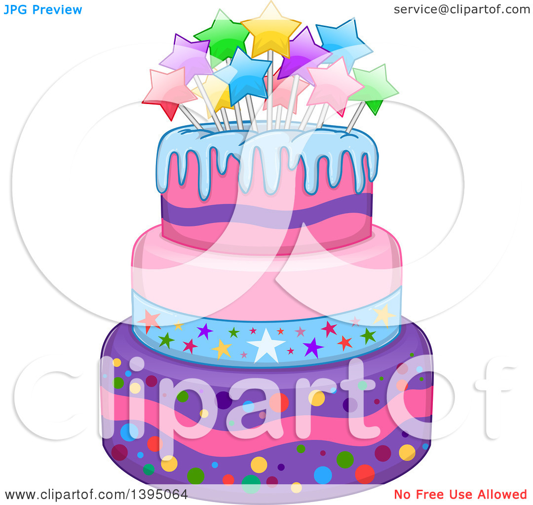 Girly birthday cake clipart jpg library Clipart of a Girly Birthday Cake with Stars - Royalty Free Vector ... jpg library
