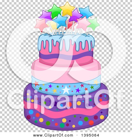 Girly birthday cake clipart picture freeuse library Clipart of a Girly Birthday Cake with Stars - Royalty Free Vector ... picture freeuse library