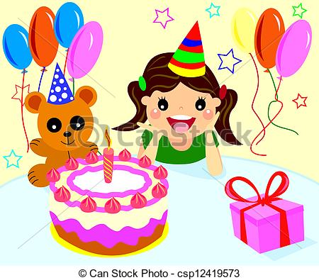 Girly birthday cake clipart black and white Little girl with birthday cake clipart - ClipartFest black and white
