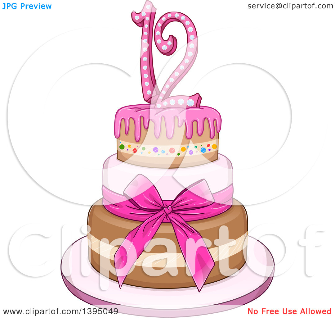 Girly birthday cake clipart graphic black and white download Clipart of a Girly Pink Bat Mitzvah Birthday Cake with Stars ... graphic black and white download