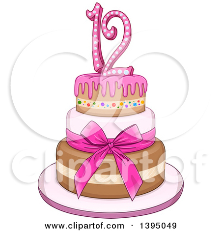 Girly birthday cake clipart clipart black and white Royalty-Free (RF) Clipart of Birthday Cakes, Illustrations, Vector ... clipart black and white