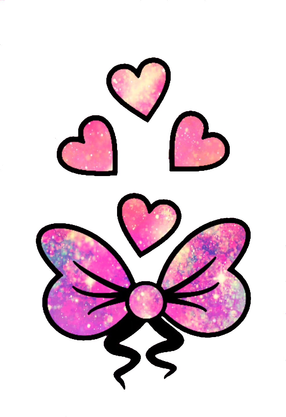 Girly heart clipart svg black and white stock glitter sparkle galaxy cute girly bow hearts love pink... svg black and white stock