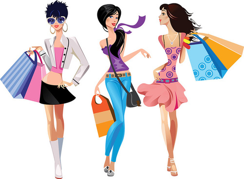 Fashion shop clipart image black and white stock Fashion shopping girls clip art free vector download (220,959 Free ... image black and white stock