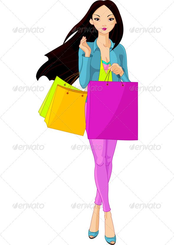 Girly shopping clipart png freeuse stock Asian Girl with Shopping Bags | Fonts-logos-icons | Shopping clipart ... png freeuse stock