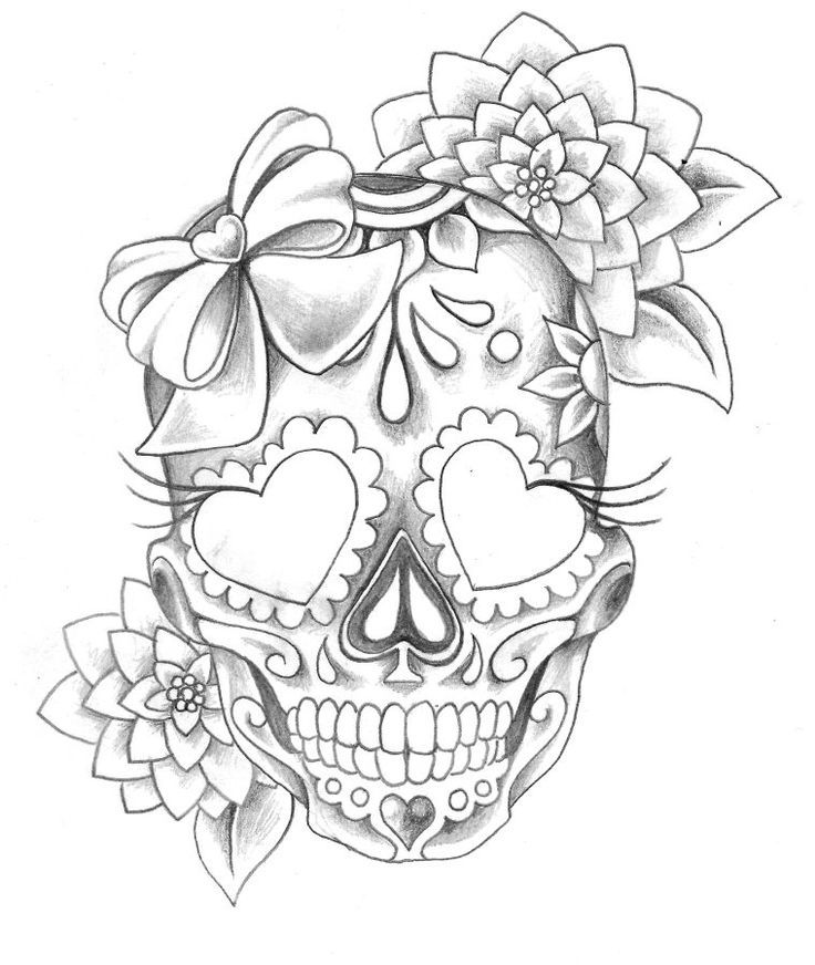 Woman skull tattoo clipart black and white free download Girly Skull Drawings at PaintingValley.com | Explore collection of ... free download