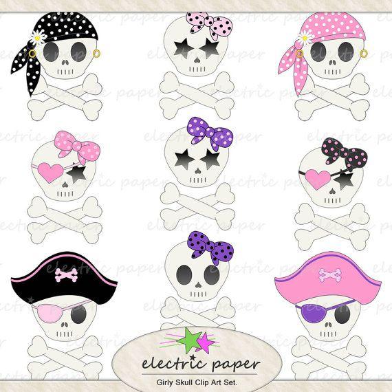 Girly skull clipart freeuse Cute Girly Skull Clip Art Set - 9 Girly Pirate Skulls Instant ... freeuse