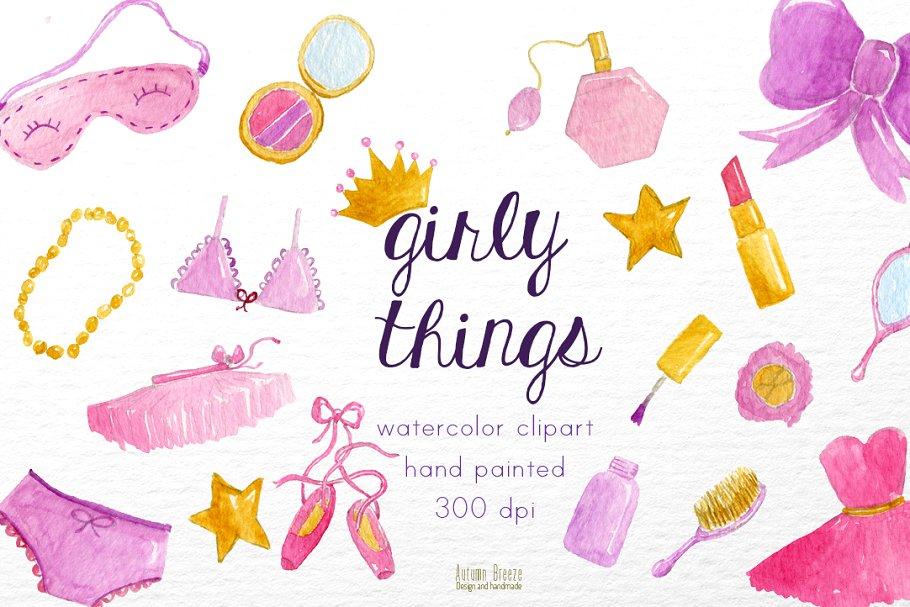 Girly things clipart black and white stock Watercolor girly things black and white stock