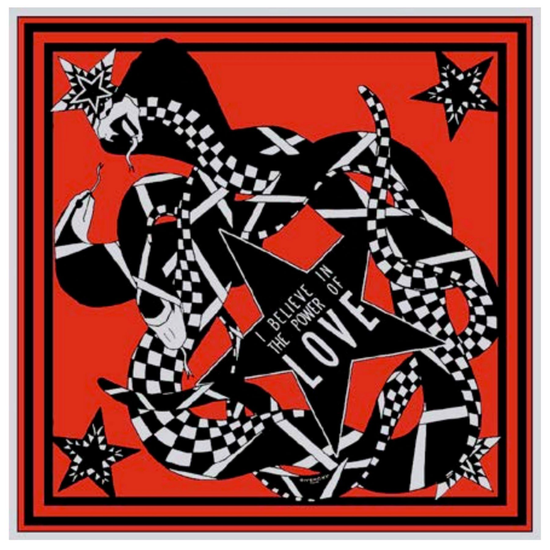 Givenchy paris logo clipart clipart black and white stock Givenchy Scarf Red SNAKE POWER OF LOVE - Twill Silk Large Square ... clipart black and white stock