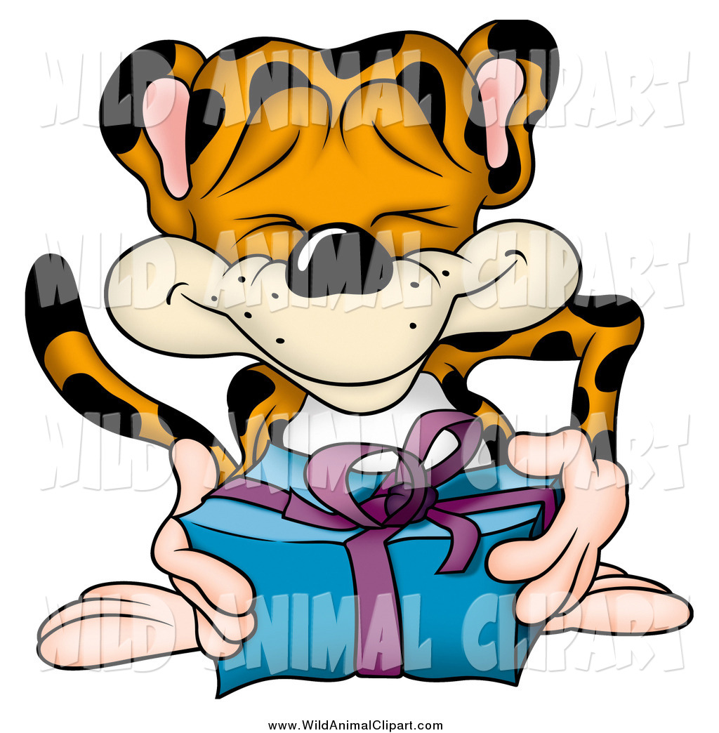 Giving clipart blue banner royalty free stock Clip Art of a Jolly Leopard Giving a Blue and Purple Present by dero ... banner royalty free stock