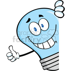 Giving clipart blue clip royalty free 6080 Royalty Free Clip Art Smiling Blue Light Bulb Giving A Thumb Up Behind  A Sign clipart. Royalty-free clipart # 389109 clip royalty free
