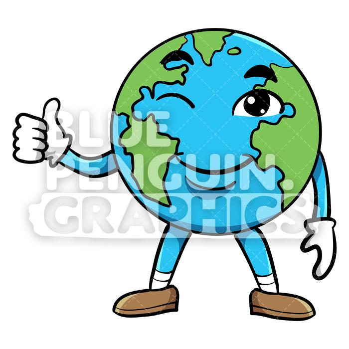 Giving clipart blue transparent library Earth Giving a Thumbs Up Vector Cartoon Clipart Illustration transparent library
