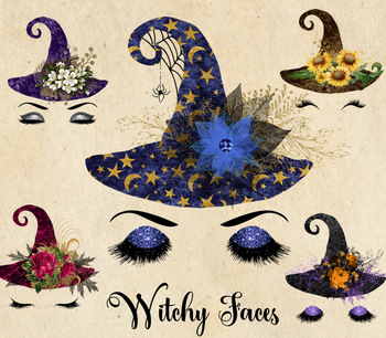 Glam clipart clipart black and white download Witchy Faces - Halloween Glam Witch clipart, witch hats, flowers and eyes clipart black and white download
