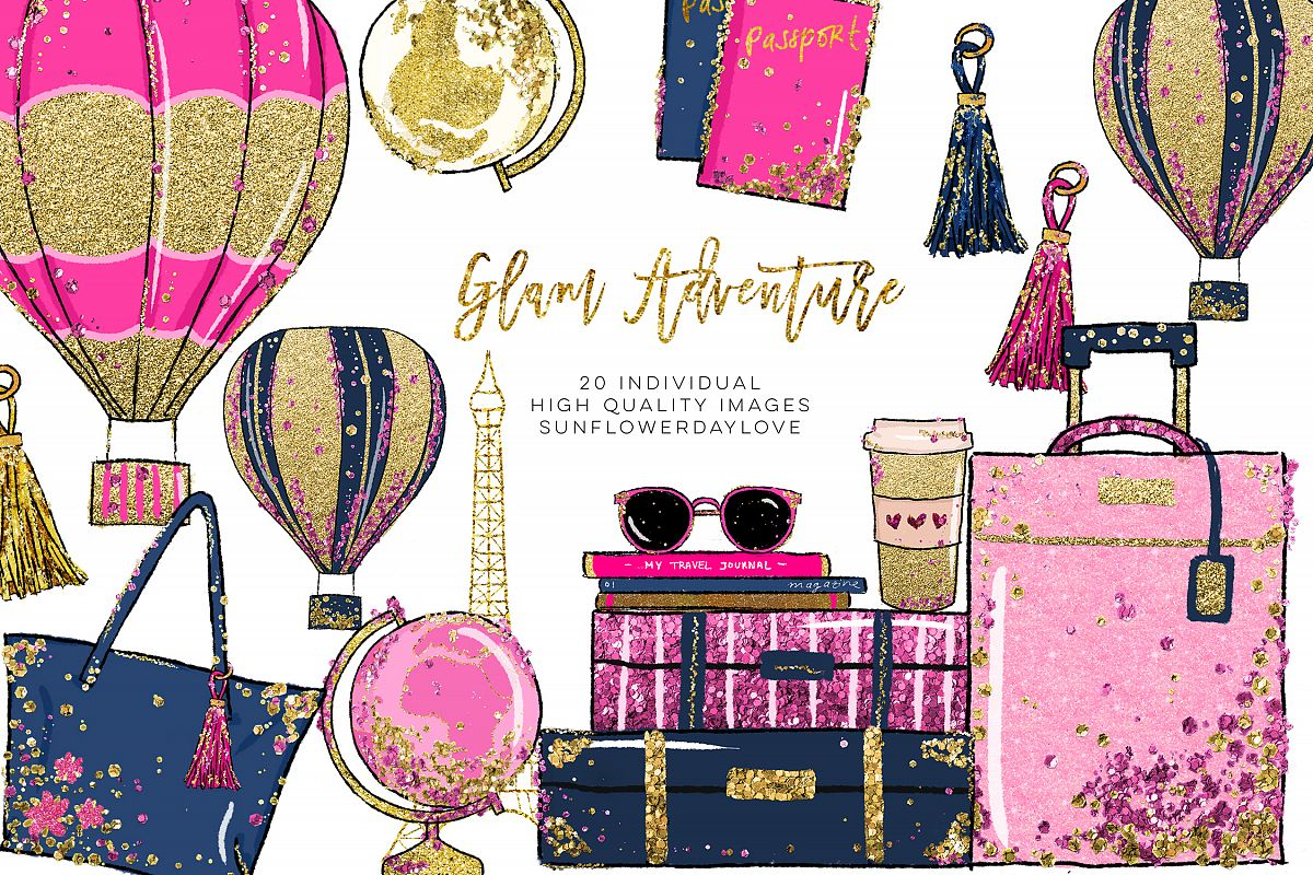 Glam clipart banner transparent stock Glam Adventure Travel Clipart, Travel Fashion Clipart banner transparent stock