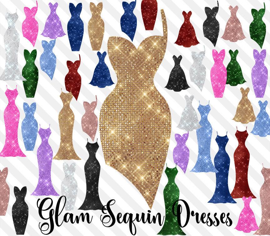 Glam clipart clip art black and white stock Glam Sequin Dresses Clipart clip art black and white stock